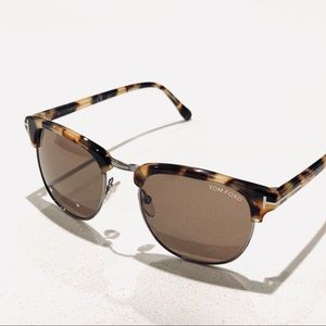 "Tom Ford ""Henry"" TF24855J Havana Sunglasses New"